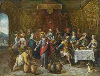 Frans Francken The Younger Painting - The Marriage Feast At Cana by Frans Francken the Younger
