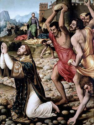 The Martyrdom Of Saint Stephen Print by Juan de Juanes