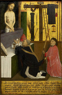 Simon Marmion Painting - The Mass Of St Gregory by Simon Marmion