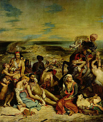 Eugene Delacroix Painting - The Massacre At Chios by Eugene Delacroix
