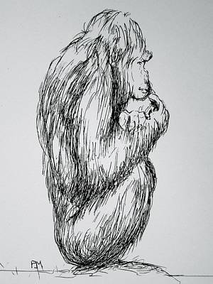 Orangutan Drawing - The Meaning Of Life by Pete Maier
