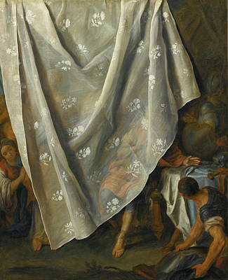 Alexander The Great Painting - The Meeting Of Alexander The Great And Roxana Behind A Trompe-l'oeil Curtain by Pietro Rotari
