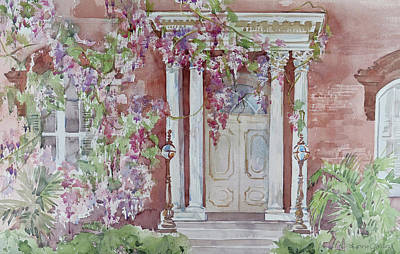 Watercolor Wisteria Painting - The Mercer House by Lynne Grant