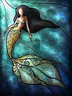 Starfish Digital Art - The Mermaid by Mandie Manzano