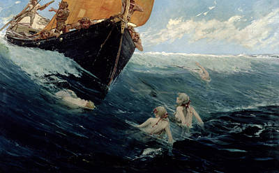Extinct And Mythical Painting - The Mermaid's Rock by Edward Matthew Hale