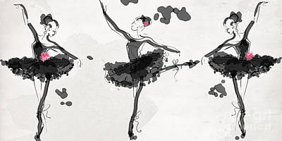 Ballet Drawing - The Met Debut - Dancers In Black by Jodi Pedri