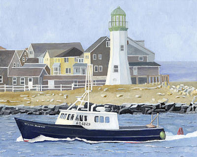 New England Lighthouse Painting - The Michael Brandon by Dominic White