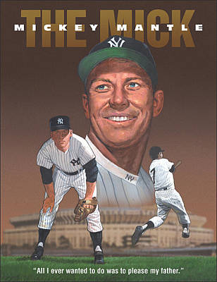 Mickey Mantle Painting - The Mick by Harold Shull