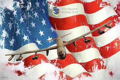 Haze Digital Art - The Mighty B-52 by Peter Chilelli