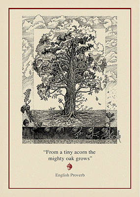 Pen Drawing - The Mighty Oak by Ernestine Grindal