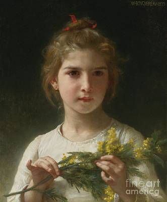 William-adolphe 1825-1905 Painting - The Mimosa Flower by Celestial Images