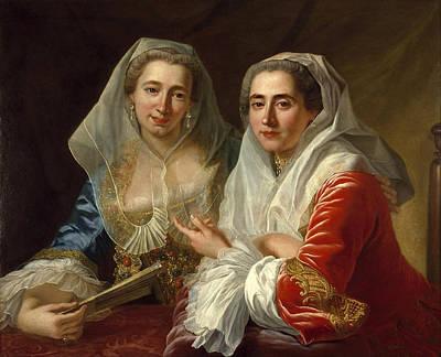 Antoine De Favray Painting - The Mirabita Sisters by Antoine de Favray