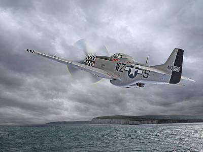 P51 Photograph - The Mission - P51 Over Dover by Gill Billington