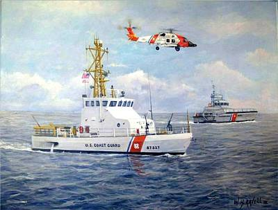 Enforcement Painting - The Modern U. S. Coast Guard by William H RaVell III