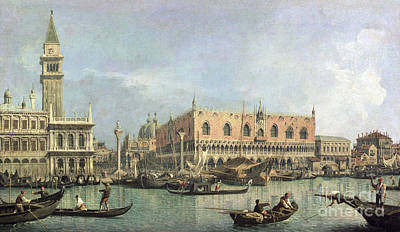 Gondolier Painting - The Molo And The Piazzetta San Marco by Canaletto