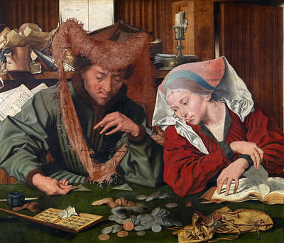 Reymerswaele Painting - The Moneychanger And His Wife by Marinus van Reymerswaele