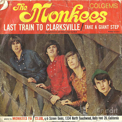 Monkey Photograph - The Monkees Last Train To Clarksville 45 Sleeve by Edward Fielding