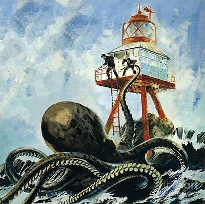Giant Squid Painting - The Monster Of Serrana Cay by Graham Coton