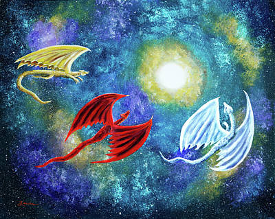 Nebula Painting - The Moon And Dragons Three by Laura Iverson
