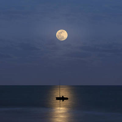 Sailboats Photograph - The Moon Guide Us by Carlos Gotay
