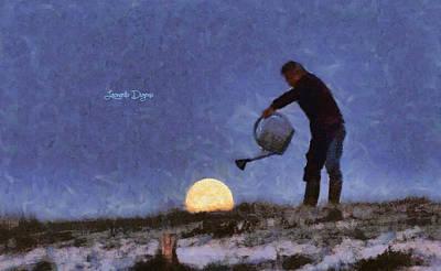 Water Painting - The Moon Keeper - 2 Of 7 by Leonardo Digenio