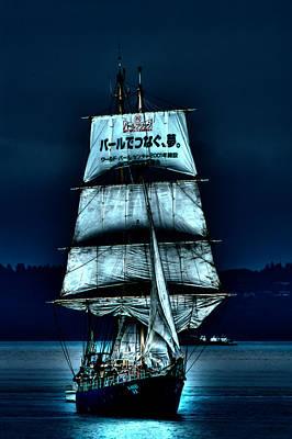 The Moonlit Kaisei Brigantine Tall Ship Print by David Patterson