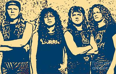 Metallica Painting - The Most Famous Metal Rockers by John Malone