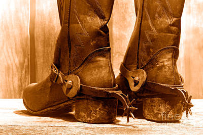 The Muddy Boots - Sepia Print by Olivier Le Queinec