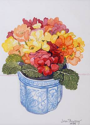 Primroses Painting - The Multicolored Primrose by Joan Thewsey
