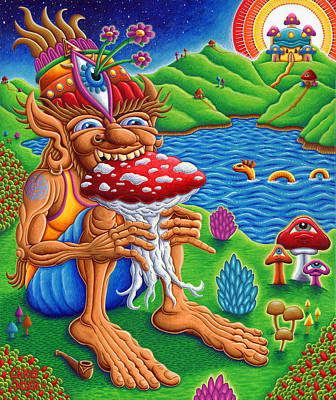 The Muncher Of Mushroomland Print by Chris Dyer