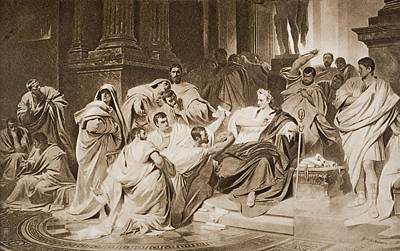 Senate Drawing - The Murder Of Caesar. From The Picture by Vintage Design Pics
