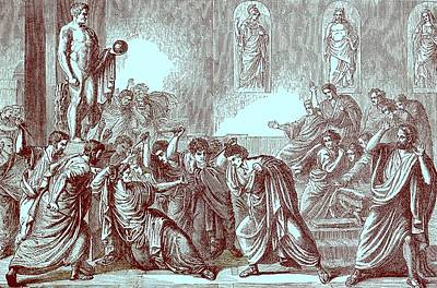 The Murder Of Julius Caesar Print by English School