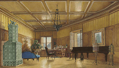 Wood Castle Painting - The Music Room Of Archduchess Margarete  Princess Of Saxony by Heinrich Von Forster