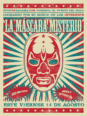 Wrestling Drawing - The Mysterious Mask by Richard Rabassa