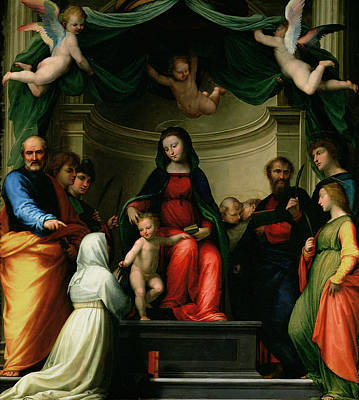 The Mystic Marriage Of St Catherine Of Siena With Saints Print by Fra Bartolommeo - Baccio della Porta