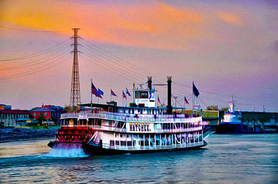 The Natchez On The Mississippi Print by Bill Cannon