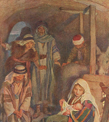 Religious Drawing - The Nativity by Harold Copping