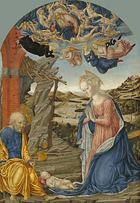 Francesco Di Giorgio Martini Painting - The Nativity With God The Father Surrounded By Angels And Cherubim by Francesco di Giorgio Martini