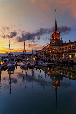 A Summer Evening Photograph - the nautical station and the yacht on the main sea channel of the Sochi seaport by George Westermak