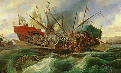 Waving Flag Painting - The Naval Battle Of Lepanto by Antonio de Brugada