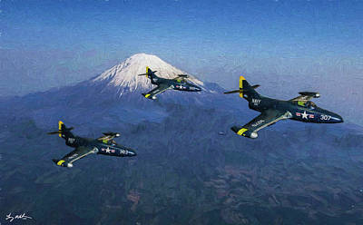 Digital Art - The Navy Over Japan In Oil by Tommy Anderson