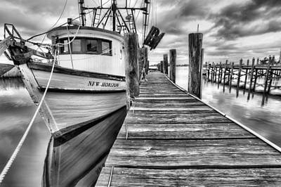 The New Horizon Shrimp Boat Bw Print by JC Findley