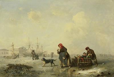 The Newa At Saint Petersburg In Winter Print by Theodor Hildebrandt