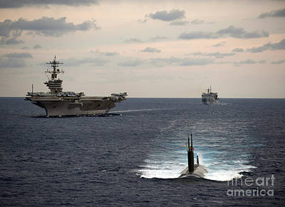 Carrier Painting - The Nimitz-class Aircraft Carrier Uss Carl Vinson And A Submarine by Celestial Images