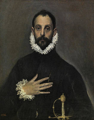 Beard Painting - The Nobleman With His Hand On His Chest by El Greco