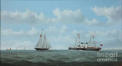 Giving Painting - The Normandy Giving Way To Sail  by George Mears