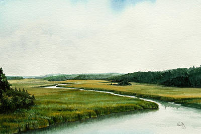 Tidal River Painting - The North River by Paul Gaj