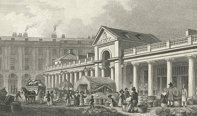Piazza Drawing - The North West Facade Of The New Covent Garden Market by Thomas Hosmer Shepherd