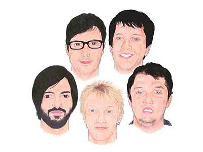 Alternative Rock Band Drawing - The Nova Echo by Michael Dijamco