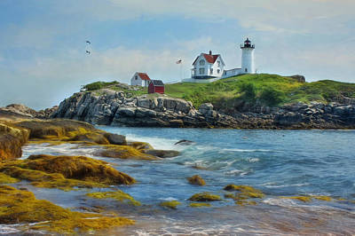 Atlantic Ocean Mixed Media - The Nubble Lighthouse by Lori Deiter
